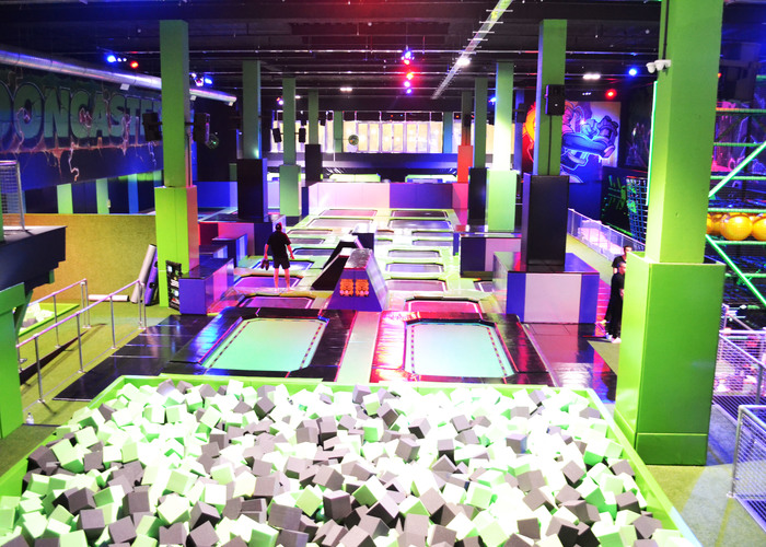 Wide angle shot of the trampoline park